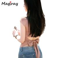 2015 Korean Stylish Sexy Back Bow Cropped T Shirt Women Cotton Short Sleeve T Shirt Fashion