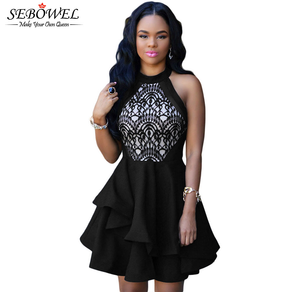 S-XXL Lace Top Cascading Design Off Shoulder Peplum Dress Short Formal Women Dress For Party Evening Vestido De Festa 22477