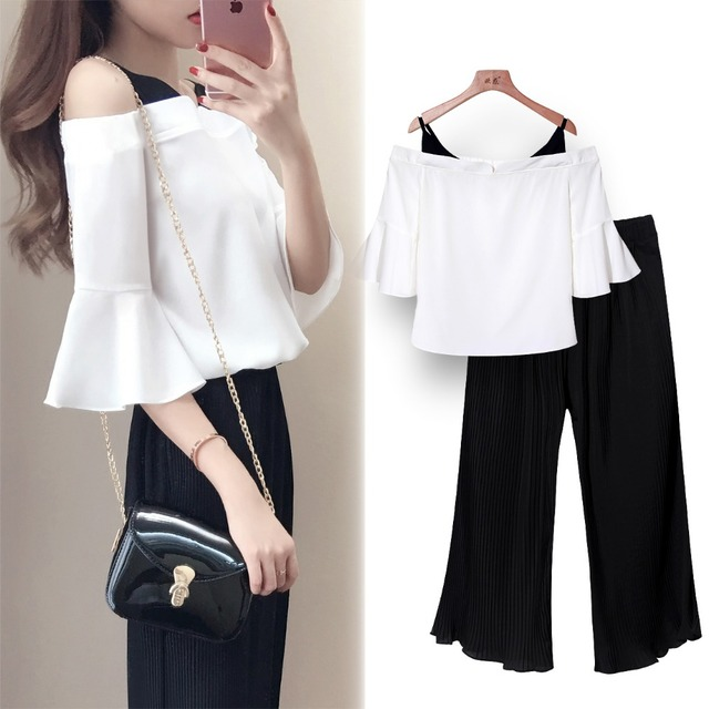 2 Peça Set Off Shoulder Blusa + Calças Mulheres Conjunto de Verão