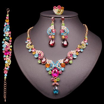Fashion Crystal Jewelry Sets Jewelry Jewelry Sets Women Jewelry Metal Color: 4 pcs suit multi