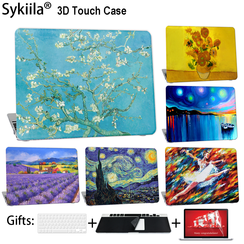 Sykiila Case For Macbook Air 11 13 Pro 12 13 15 Cover Oil Art Painting Shell A1706 A1707 A1708 Touch Bar Stars Diy Custom Made case for macbook pro 13 15 12 retina air 11 13 touch bar a1706 a1707 a1708 matte oil print cover left brain marble wood laptop