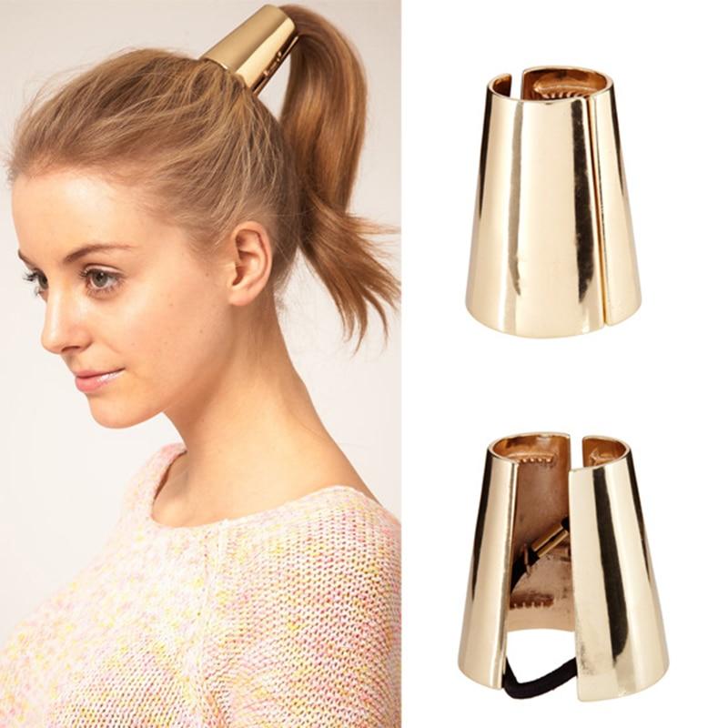 Polished Alloy Golden Silver Black Metallic Column Hair Claw Special Design Elastic Hair Bands Headwear Women Ponytail Holder
