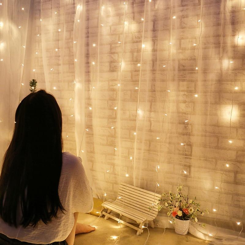 EU csatlakozó 3 * 1M függöny fény Romantikus meleg fehér - Üdülési világítás - Fénykép 2