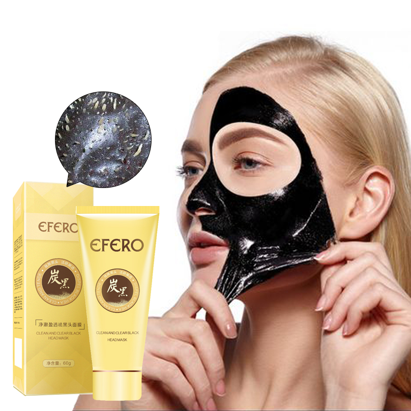 efero Black Mask Blackhead Removal Nose Strips Black Head Face Mask Deep Cleansing Peel Off Mask Pores Shrinking Acne Treatment