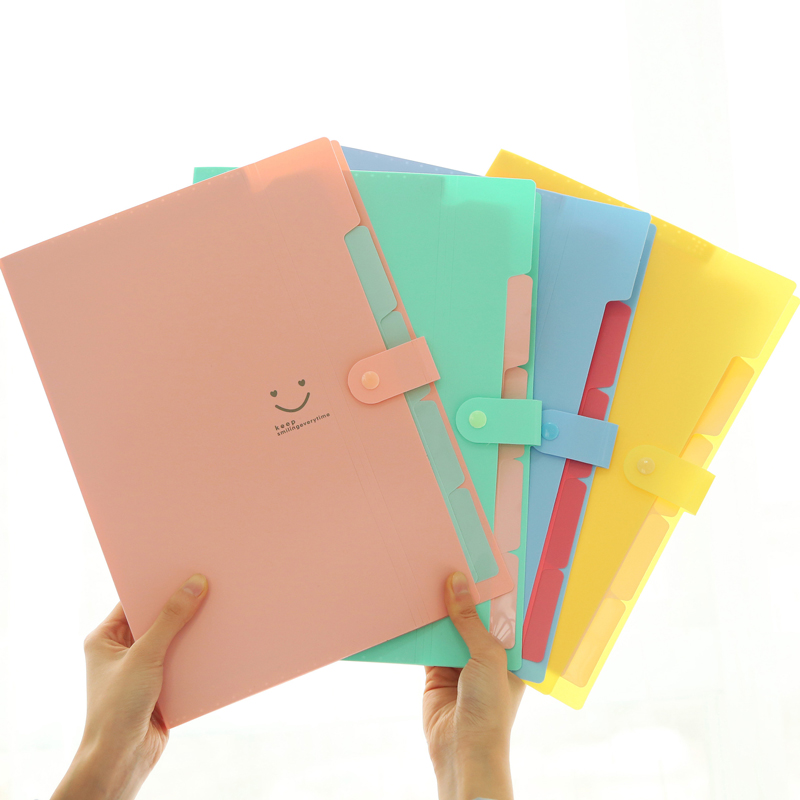 Korean Candy Colors Waterproof A4 File Folder Smiling Face Design 5 Into Paper Document Bag Rectangle School Home Office