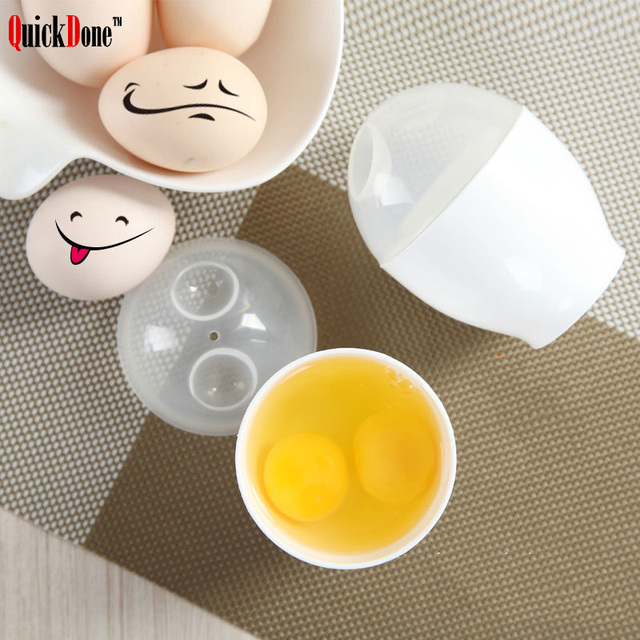 Quickdone Pp Plastic Microwave Egg Cooker White Oven Cup Poacher Boiler Steamer Cooking Tool