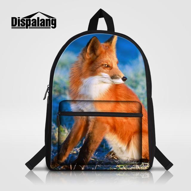 Dispalang Canvas Men Laptop Backpack Colorful Fox Printed Bookbag For Teens Animal School Bag Mochila Feminina Children Rucksack