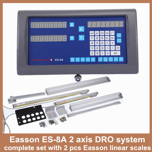 High Precision Easson ES-8A lathe 2 axis digital readout DRO with 2 pieces digital linear scales for lathe milling machine free shipping high precision easson gs11 linear wire encoder 850mm 1micron optical linear scale for milling machine cnc