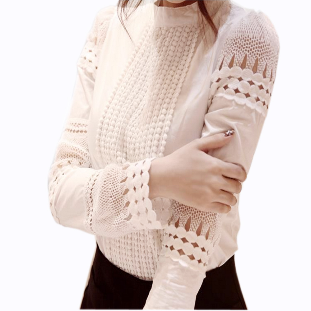 Lace Hollow Blouse White Shirts Ladies' Slim Bottoming Hook Flower Lace Blouse Female Elegant Long-sleeved Cotton Blusas J2531