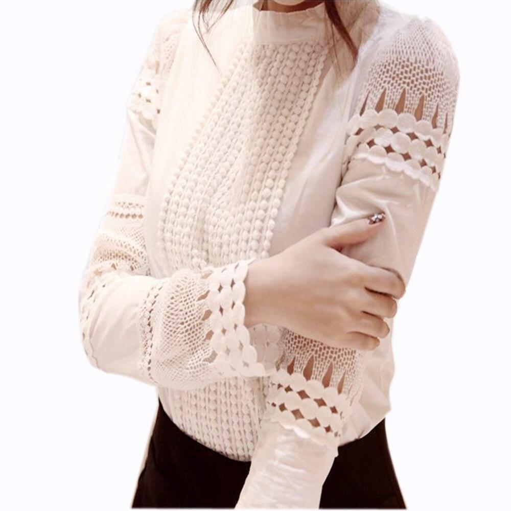 Oco rendas Blusa Branca Camisas Das Senhoras Magro Assentamento Flor Gancho Blusa de Renda Elegante Fêmea Longo-sleeved Algodão Blusas J2531