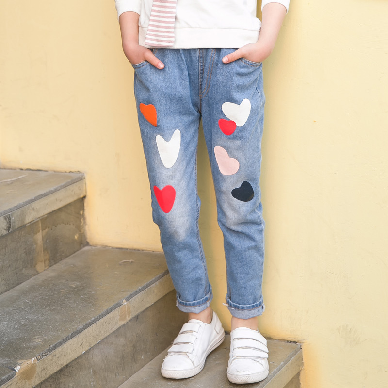 Children Printed Jeans Girls Pants Brand Fashion Spring Big Kids Denim Trousers Children Clothing Casual Printed
