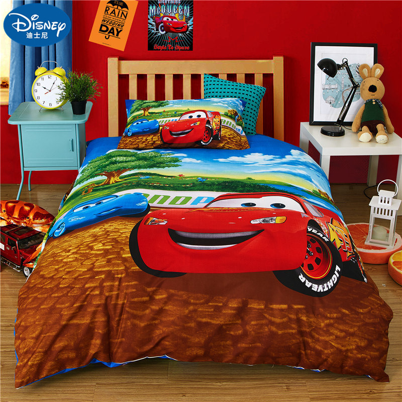 Home Textile Car Bedding Set Cartoon Children Boy Duvet Cover Set Bed Set  Bedding Bag Pillowcase Sheet Sleep Gift