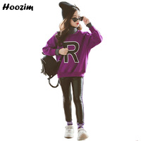 Winter Suit For Girls 9 10 11 12 Years Fashion Thick Letter Tops+Velvet Leather Pants Children Autumn Teenage Girls Clothing Set