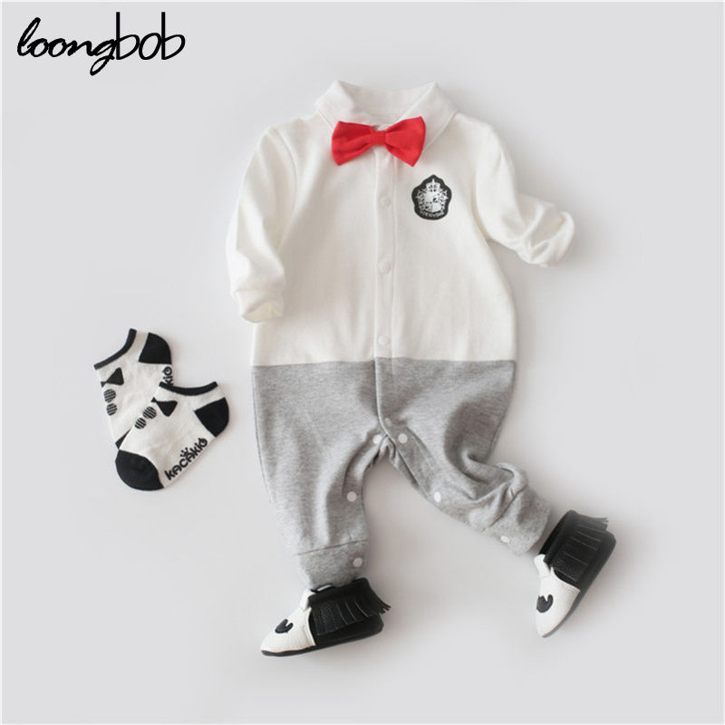 Handsome Baby Rompers Infant Newborn 0-24M Bow Romper Costume Cotton Tie Jumpsuit Clothes Gentleman Body Suit Baby Boys Clothing newborn baby rompers baby clothing 100% cotton infant jumpsuit ropa bebe long sleeve girl boys rompers costumes baby romper