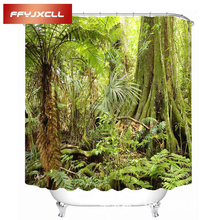 Digital Printing Shrubbery Plant Polyester Waterproof Mildew Fabric Shower Curtain Eco-Friendly Bathroom With Hook