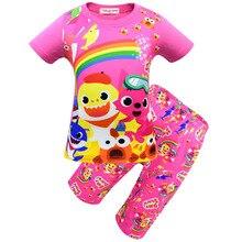 Купить с кэшбэком 2019 Europe and American new Shark baby children clothing set round neck T-shirt pants Girls pajamas Two-piece girl nightclothes