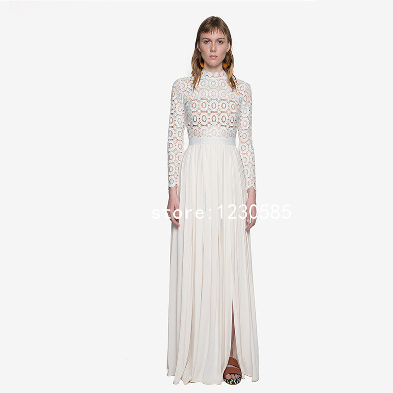 Free Shipping White Turtleneck Long Sleeves Sheer Lace Chiffon Maxi Dress Summer Long Women Dresses Vestidos 53050