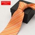 Romguest 2016 novo frete grátis homens Coreano de negócios formal gravata laranja listrado 9 cm banco equipe de trabalho laços caixa de presente pacote