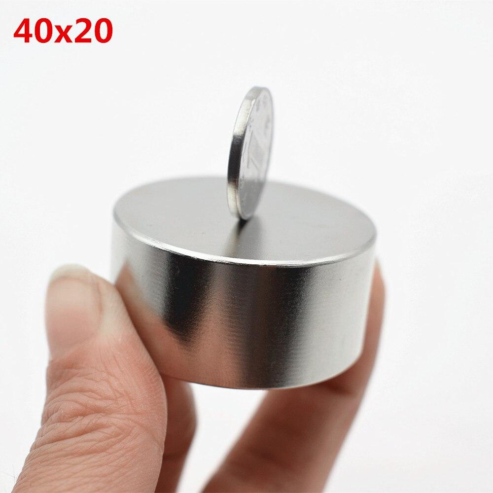 N52 Neodym magnet 40x20 rare earth super starke leistungsfähige runde permanent magnet 40*20mm suchen gallium metall elektromagnet