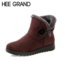 HEE GRAND Women Warm Ankle Boots Low-cut Winter Womens Waterproof Anti Slip Bootie Fur Footwear Shoes Booten XWX1597