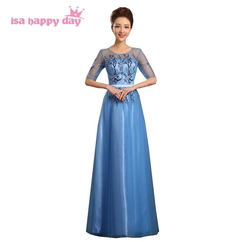 1fc721e709 Modest tiul blue lace sweetheart formalne elegancki aneks wieczór długie suknie  suknie suknia 2019 z suknia balowa z rękawami H3581