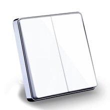 Белый Цвет класса люкс Стекло зеркальная поверхность 2 gang