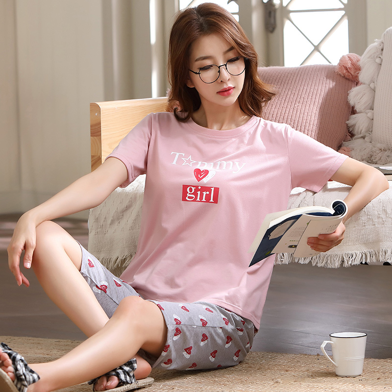 Image 5 - Summer Pajamas For Women Short Tops+Calf length Pants 100%Cotton Casual Loose Soft Plus Size M 5XL Women Pajamas Sets-in Pajama Sets from Underwear & Sleepwears