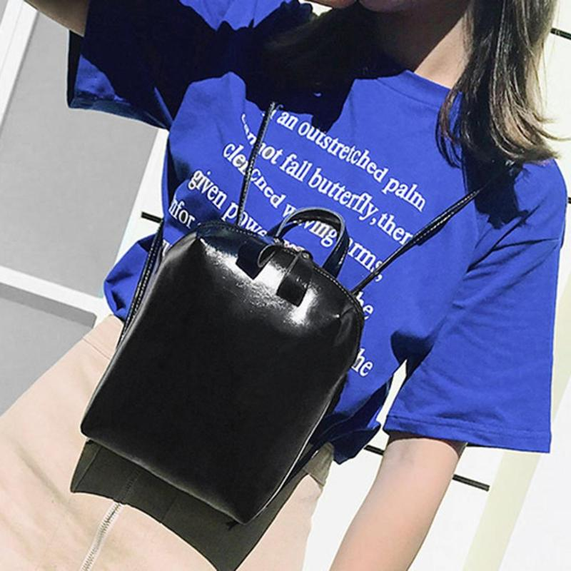Fashion Simple Women Solid Color PU Leather Backpacks Girls Travel Zipper Shoulder School Bags girl school bag  small backpack  Fashion Simple Women Solid Color PU Leather Backpacks Girls Travel Zipper Shoulder School Bags girl school bag  small backpack