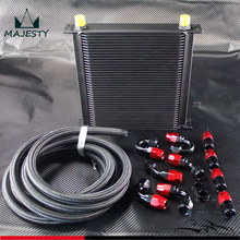 40 Row AN10 Engine Oil Cooler + 5M AN10 Oil Line w/ Hose Fittings Kit Turbo Cooling Fuel System fit for universal