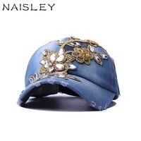 Naisley Новый Для женщин шляпа Бейсбол Кепки Полный Хрустальный цветок деним со стразами Для женщин Snapback Кепки Gorras регулируемые унисекс Кепки