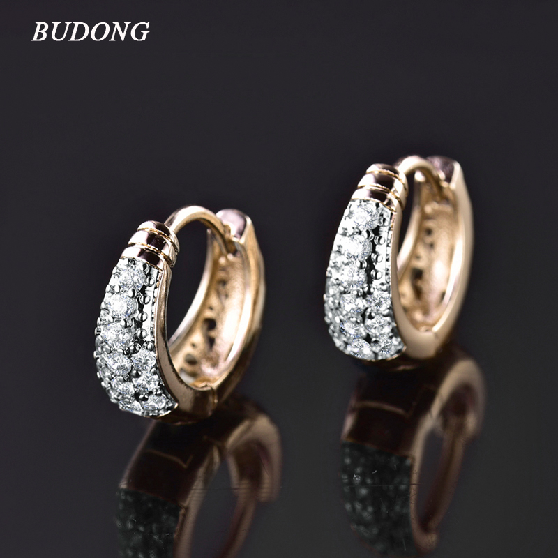 2016 Fashion Basket Jewelry for Women 18K Gold Platinum Plated Earing Round White Crystal CZ Zirconia Wedding Hoop Earing E112