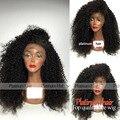 Kinky Curly Peruca Dianteira Do Laço Sintético Cor Preta Brasileiro 8A grau Peruca 180 Densidade Lace Wigs Resistente Ao Calor Para O Preto mulheres