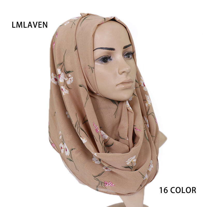 2019 New chiffon hijab scarf floral print women wrap scarves muslim nice 16 design fashion shawl