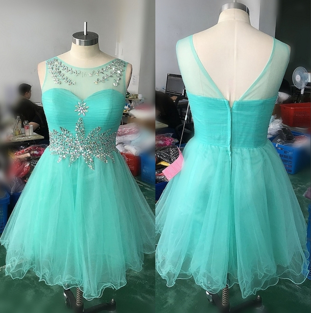 Mint Green Beaded Tulle A-line Juniors Short Cocktail Dresses 2017 Crystals  Open Back Semi-Formal Prom Party Dresses Real Photos 5c28b5709