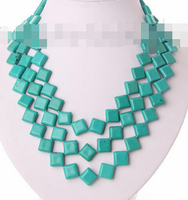 S2687 stunning 3rows big 15mm baroque blue turquoise necklace (B0409)