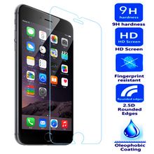 Фотография 9H Tempered Glass For iPhone 8 10 X 5 5S 4S 5C SE 6 6S PLUS 7 PLUS Screen Protector Film Protective Case Cover+Clean Kits