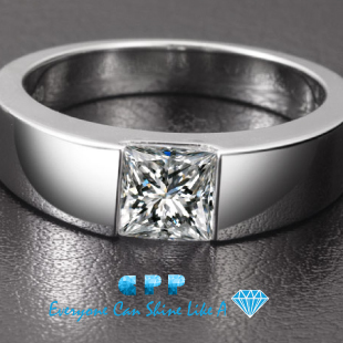 high quality 1 carat princess cut synthetic diamond mens engagement