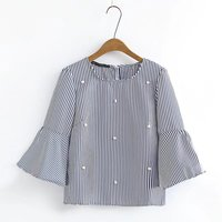 Women Elegant Pearls Beading Striped Shirt Flare Sleeve O Neck Blouse Ladies Summer Brand Casual Tops