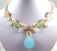 New Design White Pearl Moonstone/Blue Jades Bead Pendant Necklace
