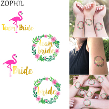 Flamingo Wreath Team Bride Wedding Tattoos Stickers to be Decoration DIY Bridal Shower party Boda Summer Holiday