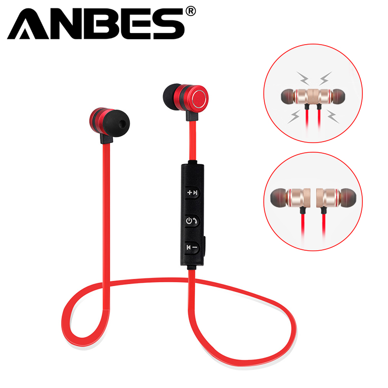Magnet Metal Stereo Headset Sports Bluetooth Earphone Wireless Earbud with Mic Neckband Headset Portable for iPhone Samsung