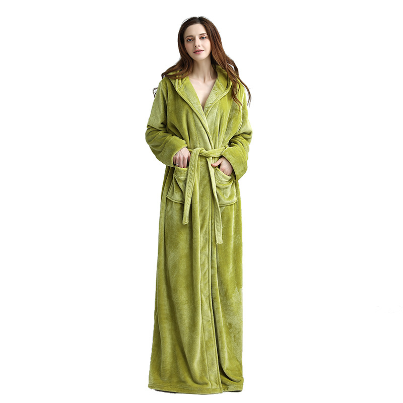 Extreme Long Winter Women Bathrobe Warm Velvet Kimono Dressing Gown Hooded  Nightgown Sleepwear Peignoir Bridesmaid Bath Robes-in Robes from Underwear  ... 21e29feb0