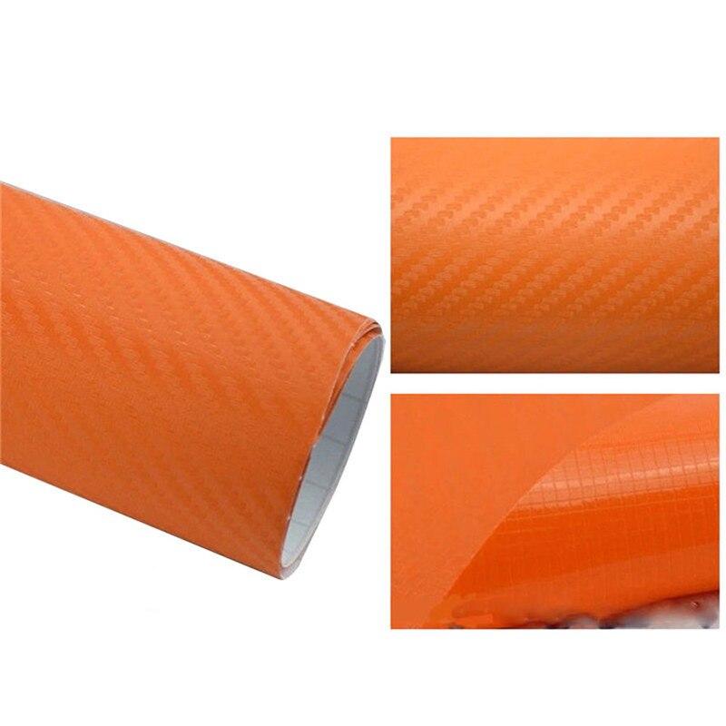 127cmx10/20 см 3D виниловая пленка из углеродного волокна для автомобиля, рулонная пленка, наклейка на машину, мотоцикл, наклейки для автомобиля, аксессуары для интерьера - Color Name: Orange