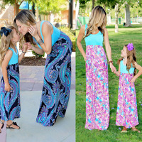 Mother Daughter Sets Summer Dresses Patchwork Family Matching Outfits Vintage Family Look Mommy And Me Family