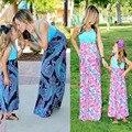 Conjuntos de mãe e Filha Vestidos de Verão Patchwork mommy and me olhar Família Família Família combinando roupas Vintage Roupas Combinando