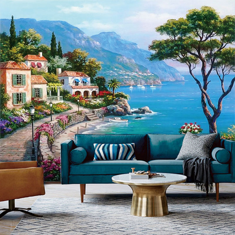 Custom 3D Mural Wallpaper Mediterranean Oil Painting Landscape Wall Papers Home Decor Living Room Sofa TV Background Wall Paper