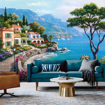 цена на Custom 3D Mural Wallpaper Mediterranean Oil Painting Landscape Wall Papers Home Decor Living Room Sofa TV Background Wall Paper