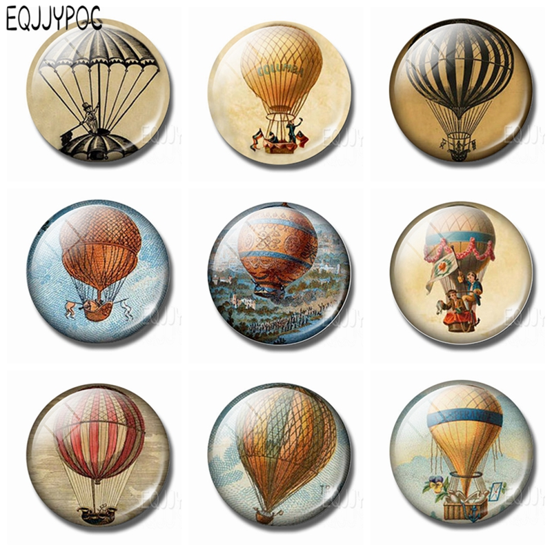 Мультяшные шары с горячим воздухом, Стеклянные Кабошоны, круглый магнит на холодильник 30 мм, Хрустальная магнитная наклейка, сувениры, подарок