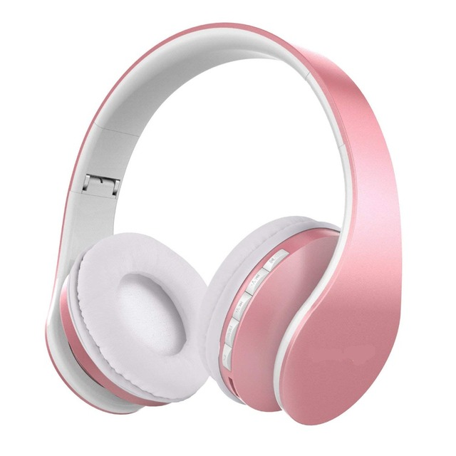 Headset Foldable Wireless Headphones rose gold  2