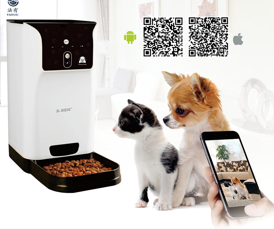 Smart Pet Feeder Pet WIFI 2.4 ghz Support de Caméra À Distance Horaire D'alimentation Large-angle Lentille Deux-way audio nuit Vision pour IOS et